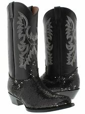 Women's Black Sequins Western Rodeo Cowboy Leather Boots J Toe