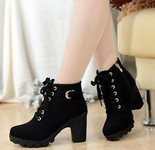 Women Autumn Winter Solid Lace-up Shoes Pu Leather Fashion Ankle Boot