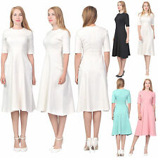 WOMENS ELEGANT LONG TEA MIDI DRESS CASUAL OFFICE WEAR TO WORK BUSINESS DRESSES