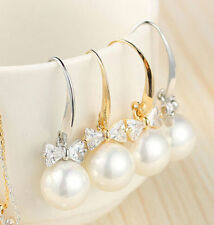 Fashion 1 Pair Women Lady Elegant Pearl Crystal Rhinestone Ear Stud Earrings