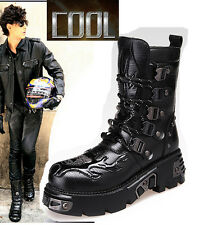 NEW ROCK-2017 TOP COOL PUNK Fashion MEN BOY Motorcycle ARMY boot SHOE US 8 9 10