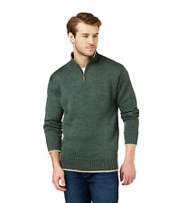 WoolOvers Mens Pure Wool Chunky Zip Neck Jumper Sweater Christmas Knitted