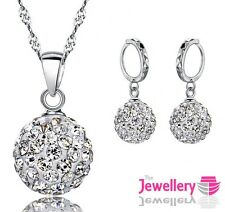 925 Sterling Silver Shamballa Crystal Pendant Necklace and Earrings Womens Set