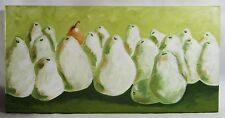 """""""A Face in the Crowd"""" Pear Fruit Still Life Painting Signed 12"""" X 24"""""""