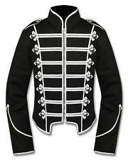 100% Wool Steampunk Emo Punk Goth MCR Military Drummer Parade Jacket Black Colou