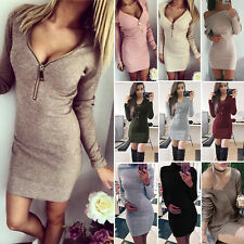 Womens Long Sleeve Knitted Sweater Pullover Jumper Tops Bodycon Short Mini Dress