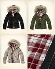 NWT Hollister by Abercrombie&Fitch Women's Flannel Lined Anorak Jacket Parka