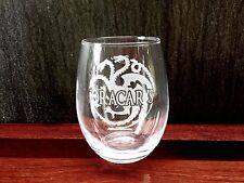 Elegant Wine Glass with Game of Thrones themed Dracarys Design, Hand Etched