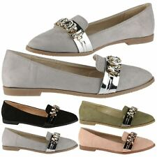 Lissy Womens Flats Low Heels Slip On Gem Detail Loafers Style Ladies Shoes Size