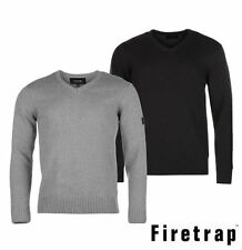 Mens New Europa Firetrap Casual Knit Jumper V Neck Top Knitwear Size S-XL