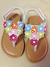 NEW Toddler Kids Girls Colorful Flower White Thong Sandals 7-12