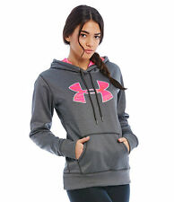 UNDER ARMOUR WOMENS STORM ARMOUR FLEECE PRINTED BIG LOGO HOODIE GREY#1260127-NWT