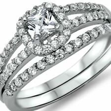 .925 Sterling Silver Wedding ring set size 7 CZ Engagement Halo Bridal New z3