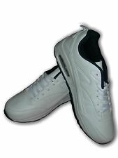 """Mens Boys Trainers LEGACY """"Air Sole""""  White/Navy Faux Leather Air Tech Size 6-12"""