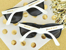 100 Personalized Sunglasses Metallic Gold White Black Wedding Shower Party Favor