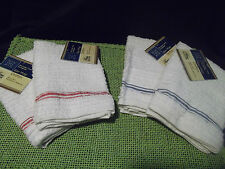 Set of 2 White Cotton Bar Mop Kitchen Dish Towels w/Red or Blue Accent-NWT