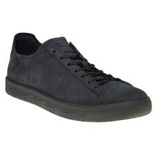 New Mens Puma X Stampd Black Clyde Leather Trainers Retro Lace Up