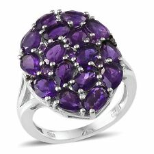 Lusaka AMETHYST , Black DIAMOND Cluster RING in Plat / Sterling Silver 7.32 Cts.