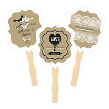 Personalized Vintage Kraft Paddle Hand Fans Wedding Anniversary Shower Favors