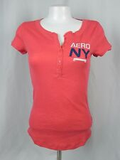 NEW Aeropostale Women's Pink Light Thermal NY Embellished Henley Shirt