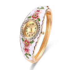 Woman Chic Crystal Plated Flower Style Jelly Sports Analog Quartz Wrist Watch