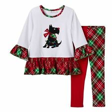 Bonnie Jean NWT 2T 3T 4T Scottie Dog Tunic Dress Plaid Legging Set Holiday