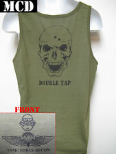 USMC FORCE RECON TANK TOP/ MCD/ OD GREEN/ SKULL DOUBLE TAP/ NEW/ MILITARY