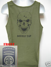 82ND AIRBORNE RANGER od green TANK TOP T-SHIRT/ SKULL DOUBLE TAP/ MILITARY/  NEW