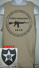 2nd I.D. TANK TOP/ T-SHIRT/ IRAQ COMBAT OPS / MILITARY TAN / ARMY / NEW
