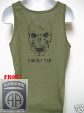 82ND AIRBORNE od green TANK TOP T-SHIRT/ SKULL DOUBLE TAP / MILITARY/  NEW