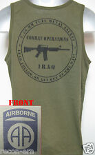 82ND AIRBORNE od green TANK TOP T-SHIRT/ IRAQ COMBAT OPS / MILITARY/  NEW