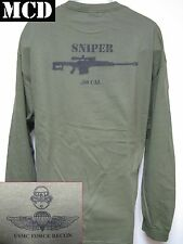 USMC FORCE RECON LONG SLEEVE T-SHIRT/ MCD/ .50 CAL SNIPER/ MILITARY/  NEW