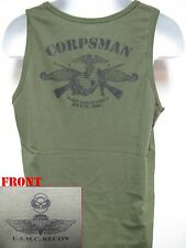 USMC RECON TANK TOP/ OD/ NAVY CORPSMAN FMF/ MARINES T-SHIRT/ MILITARY/ NEW