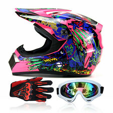 Adult Motorcycle Race Unique Full Face Motocross DOT Helmet+Goggles+Gloves UC913