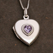 925 Sterling Silver Amethyst Heart Locket Pendant Chain Necklace Handcraft w Box