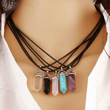 Natural Quartz Crystal Healing Point Chakra Cut Gemstone Pendant Reiki Necklace