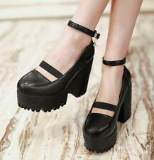 Fashion Womens ankle Straps Buckles Shoes high Chunky Heel Mary Jane Platform