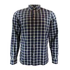 Fred Perry Men Herringbone Gingham Shirt, Mid Blue, BNWT