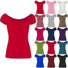 Womens Ladies Gypsy Boho Bow Tie Knot Ruched Off Shoulder T Tee Shirt Vest Top
