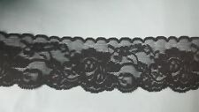 """10 / 20 / 240 yards  Black Stretch Soft  DOUBLE Scalloped Lace trim 2 1/8"""" S 6-4"""