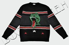 SAINT LAURENT PARIS 990$ Authentic New Black Wool Dinosaur Knitted Sweater SS17