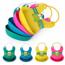 New  Baby Soft Silicone Bib Waterproof Saliva Dripping Kid Infant Lunch Bibs KK6