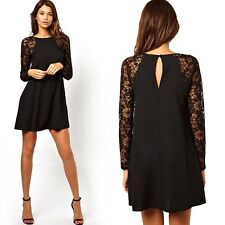 Women Long Lace Sleeves O-neck Floral Decorated  Casual  Mini Dress
