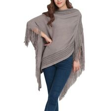 Women Knitting Poncho Cape V Neck Batwing Sleeve  Sweater
