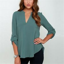 Women Long Sleeve V Neck Chiffon Casual Loose Solid Color Top Blouse Shirt