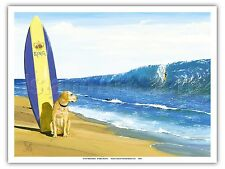 The King Beach Dog Surfboard Big Wave Vintage Original Painting Art Poster Print