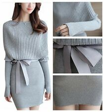 New Ladies Batwing Sleeve Knit Sweater Dress Elastic Bodycon Dress With Belt