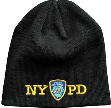 LICENSED NYPD NO FOLD WINTER HAT BLACK EMBROIDERED BEANIE KNIT CAP OFFICIAL NYC