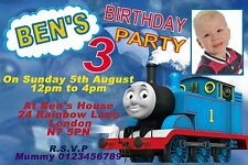 10 Personalised blue Thomas the train tank engine invitations,thank you cards