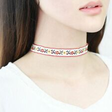 Collar Multicolor Embroidery Ethnic Necklace Bohemian Choker Jewelry